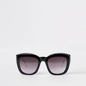 Lunettes de soleil glamour noires à clous et strass