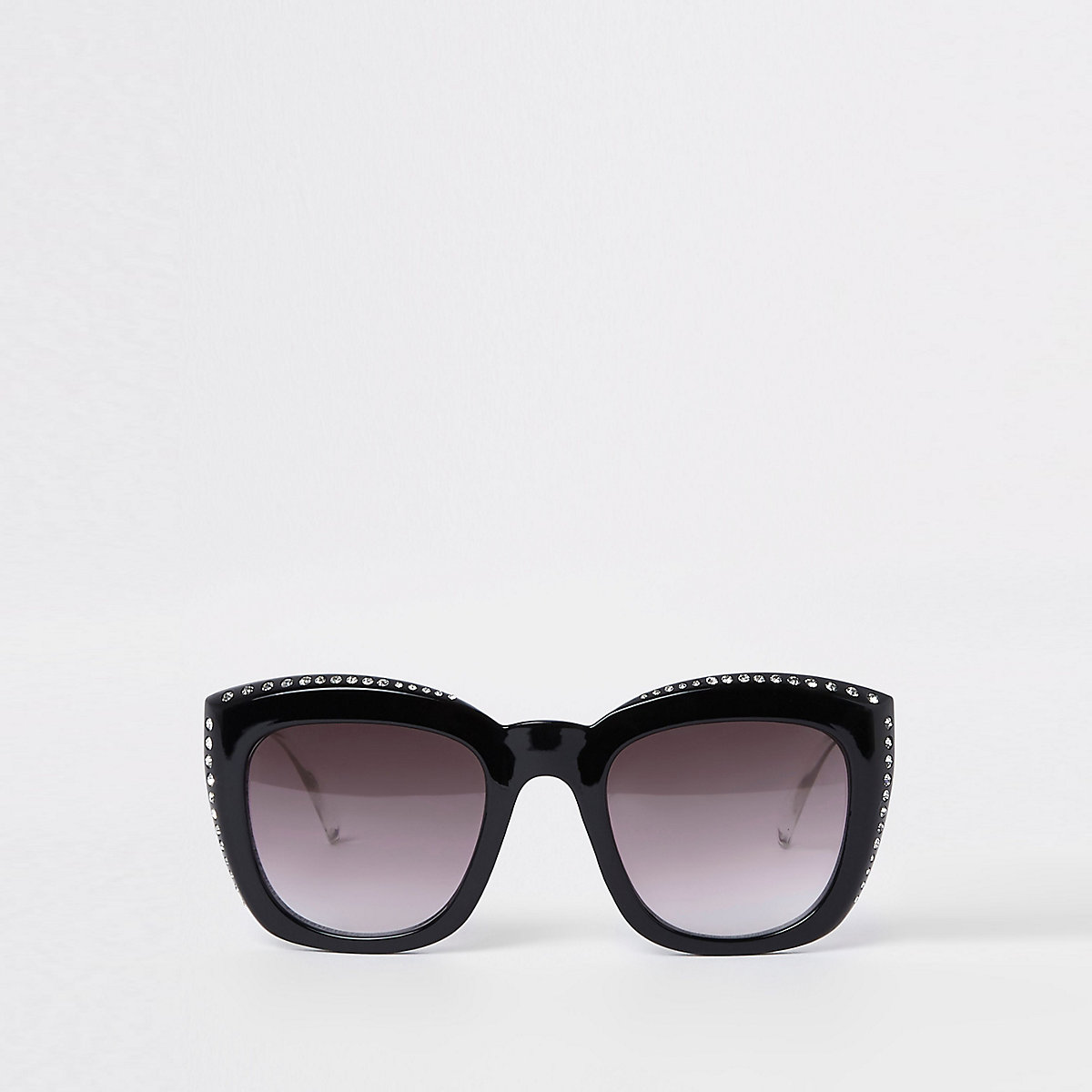 Black rhinestone studded glam sunglasses