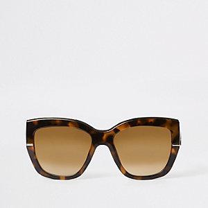 Bruine goudkleurige glamour zonnebril met tortoise-effect