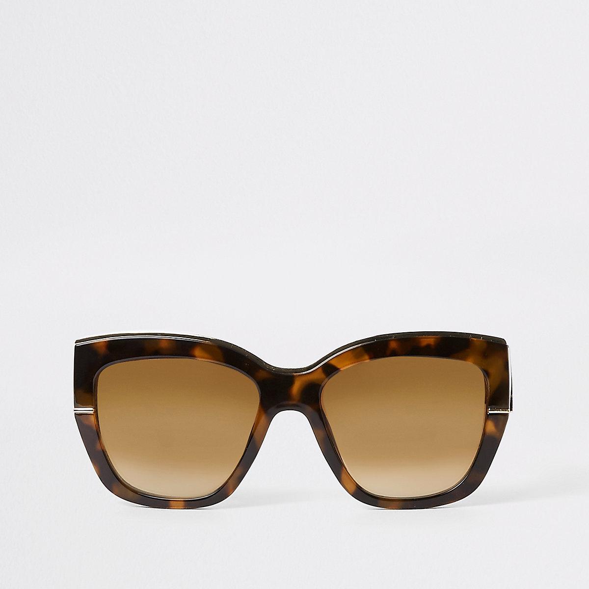 Brown tortoiseshell gold tone glam sunglasses