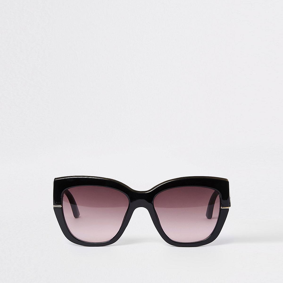 Black gold tone trim glam sunglasses