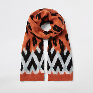 Orange leopard print scarf