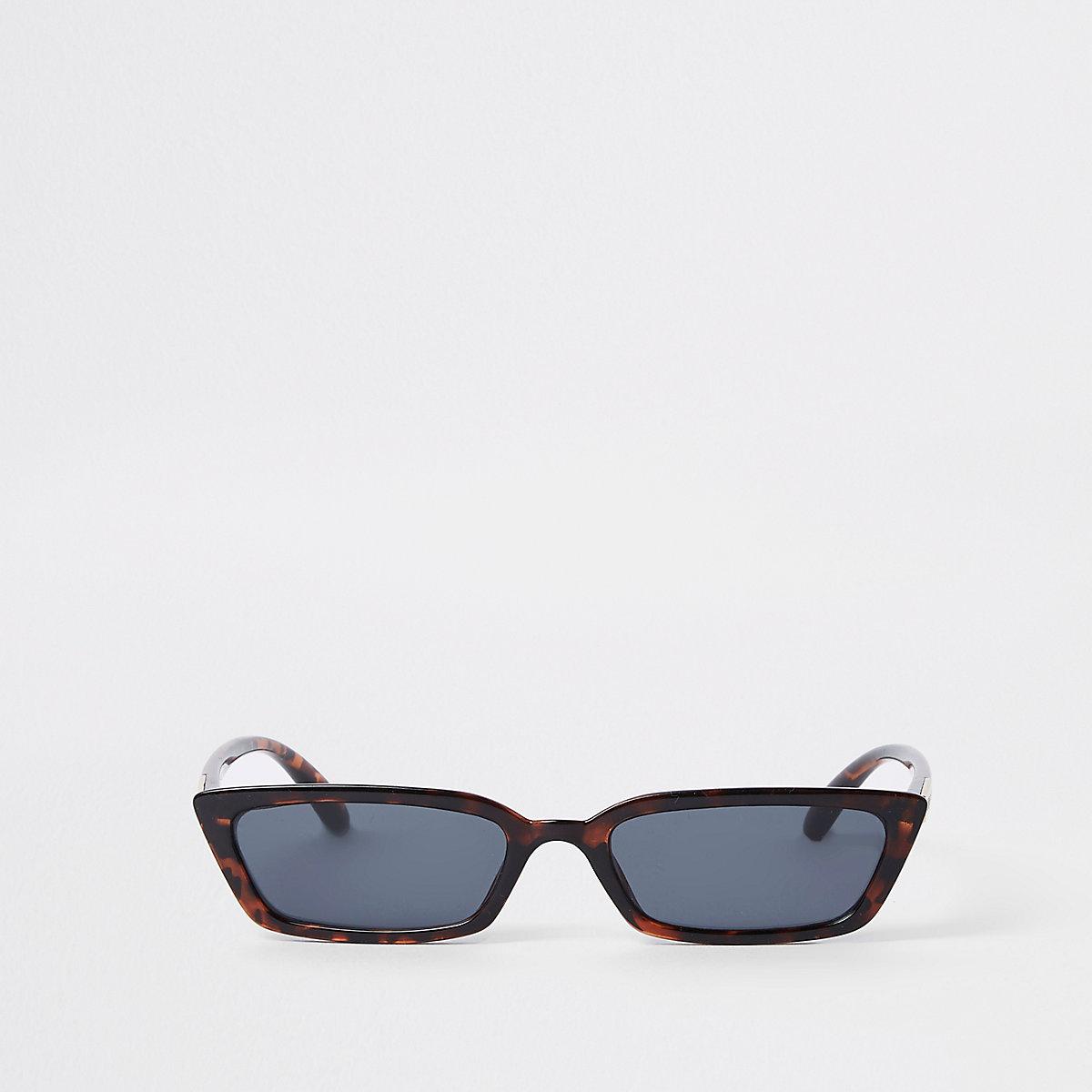Brown tortoiseshell slim frame sunglasses