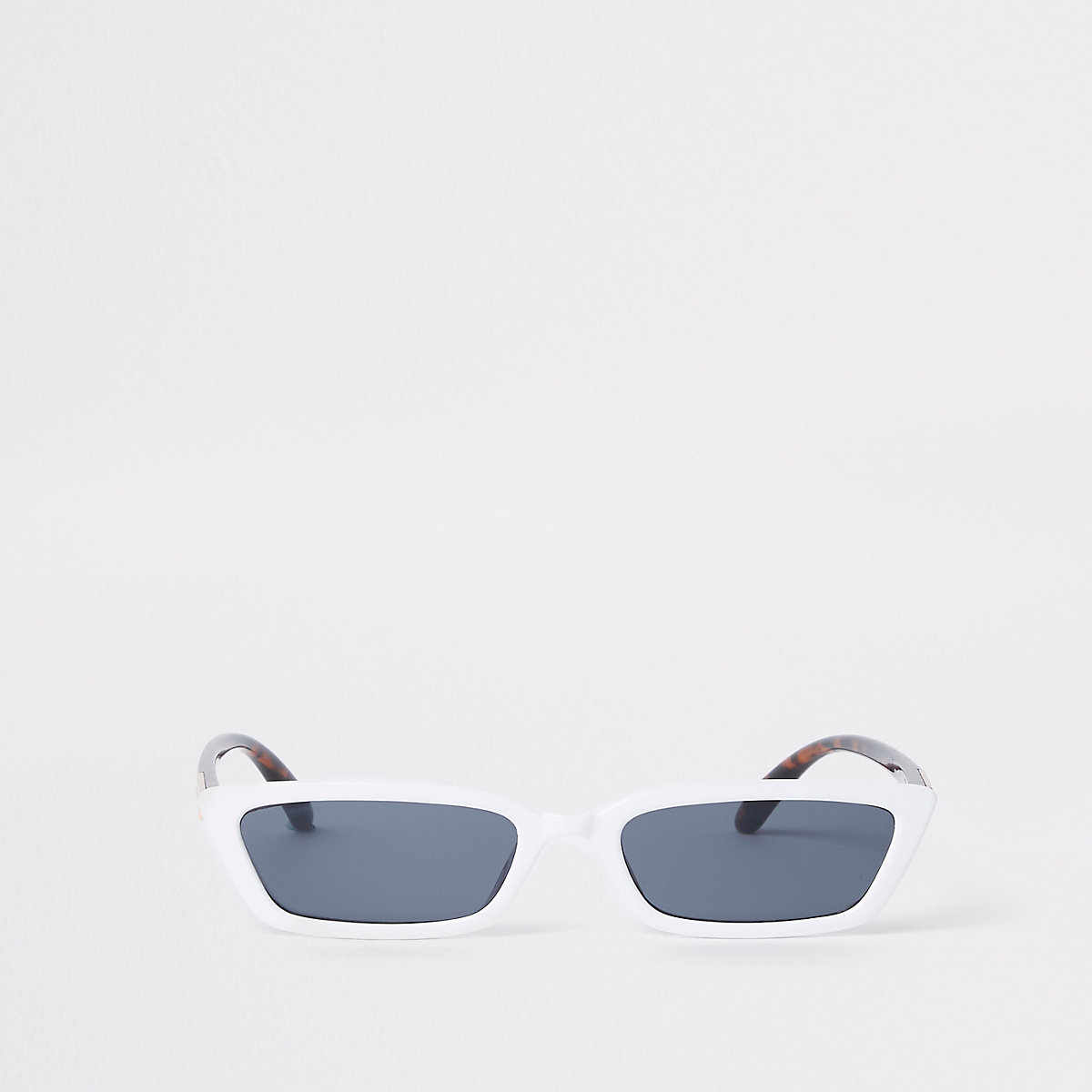White smoke lens slim frame sunglasses