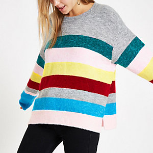 Pink stripe knit side split sweater