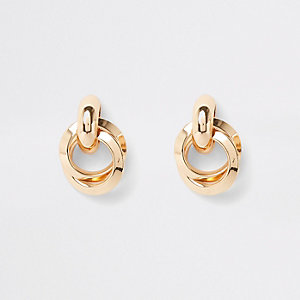 Gold colour hoop twist stud earrings