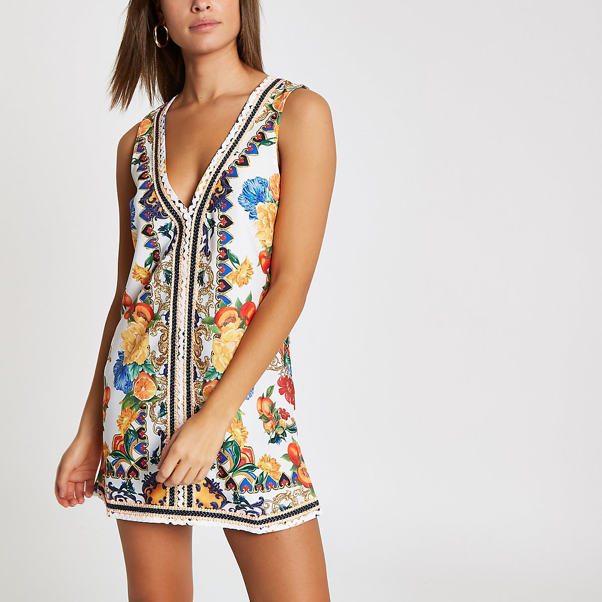White floral tie back beach dress
