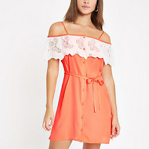 Bright orange applique trim bardot dress