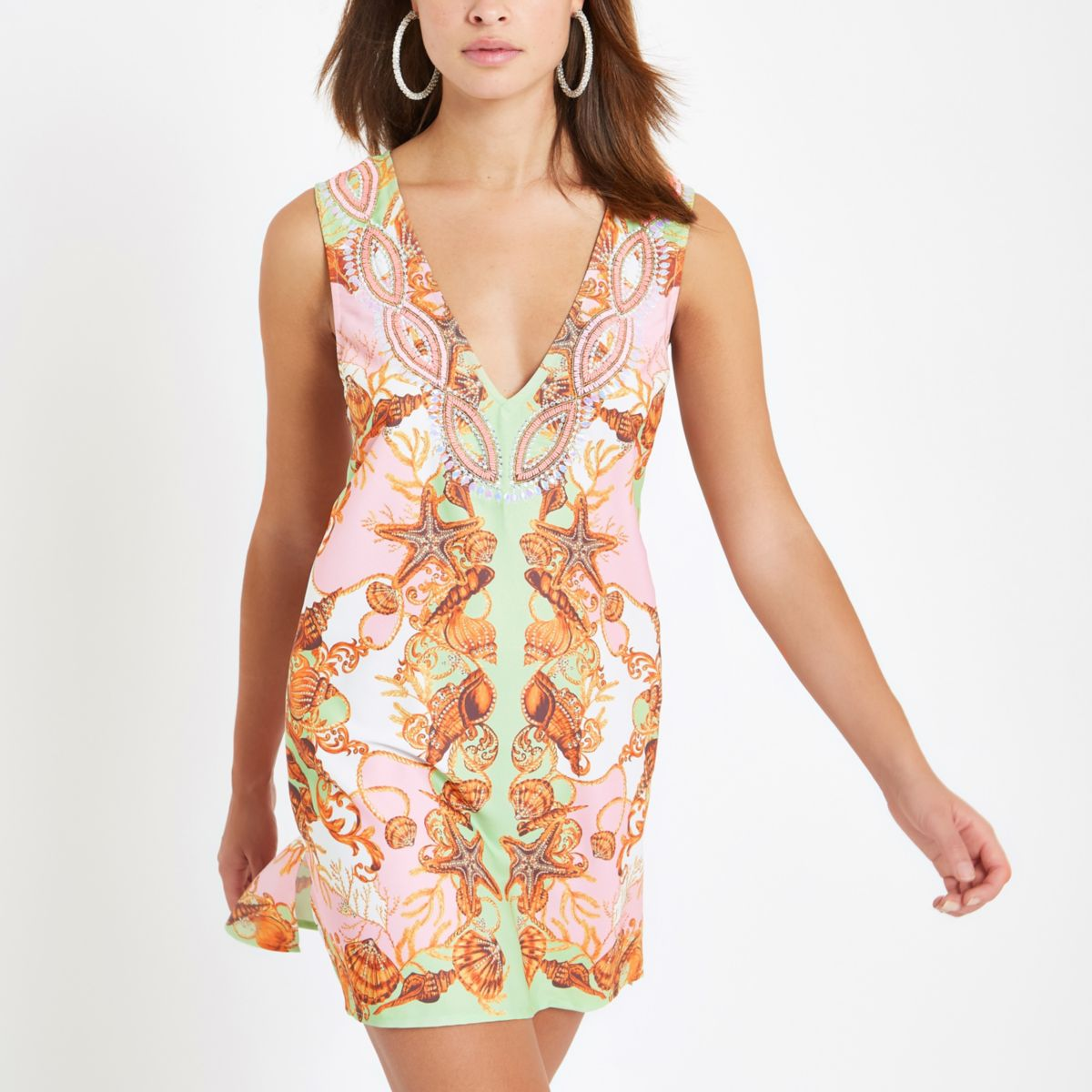 Pink diamante embellished beach dress