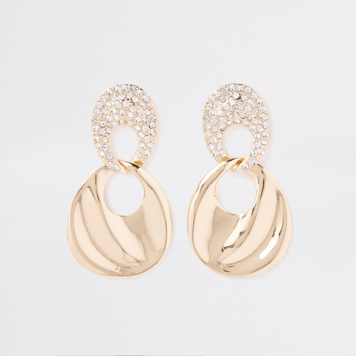 Gold tone rhinestone link wavy drop earrings