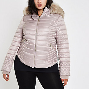 Plus cream faux fur high shine padded coat