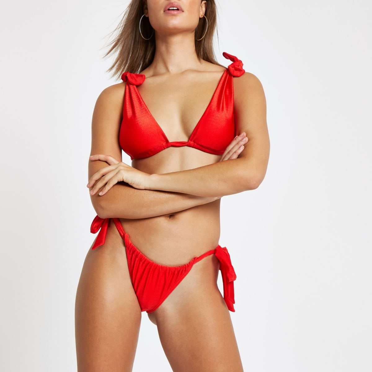 Red drawstring tie side bikini bottoms
