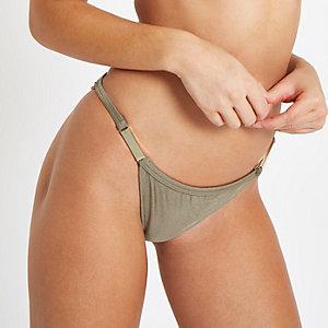 Khaki high leg bikini bottoms