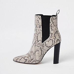 Light brown leather snake block heel boots