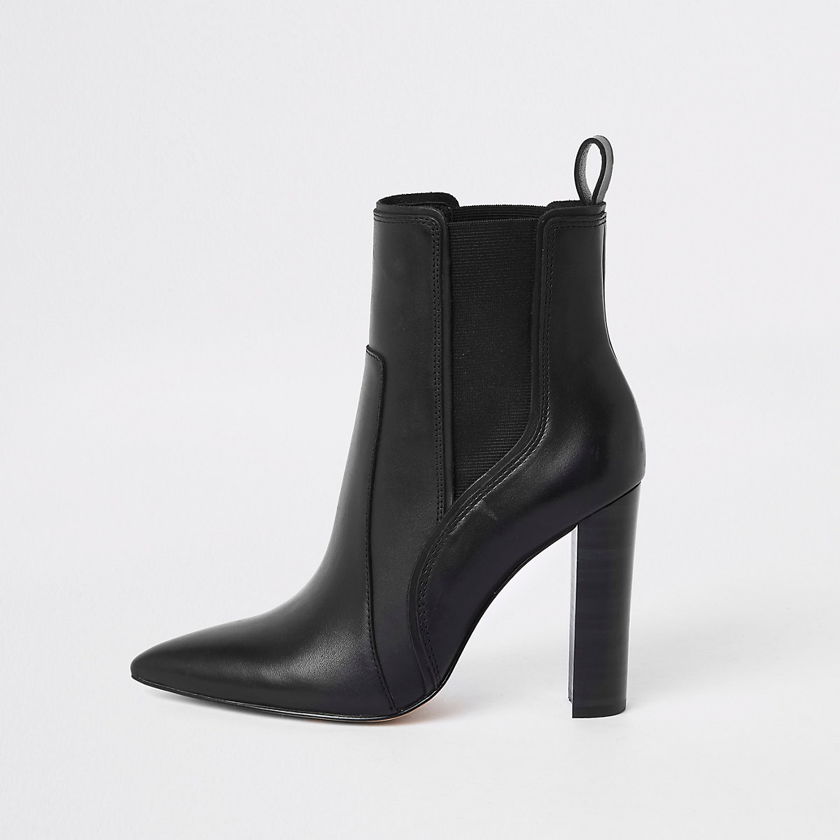 Black leather pointed toe ankle boot