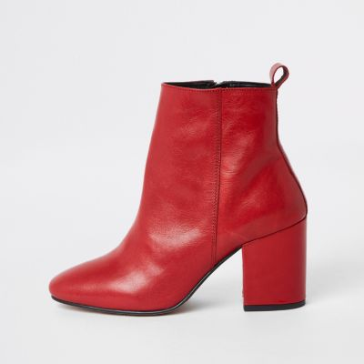 Red Leather Block Heel Ankle Boots by River Island