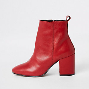Red leather block heel ankle boots 7adc2be57f74