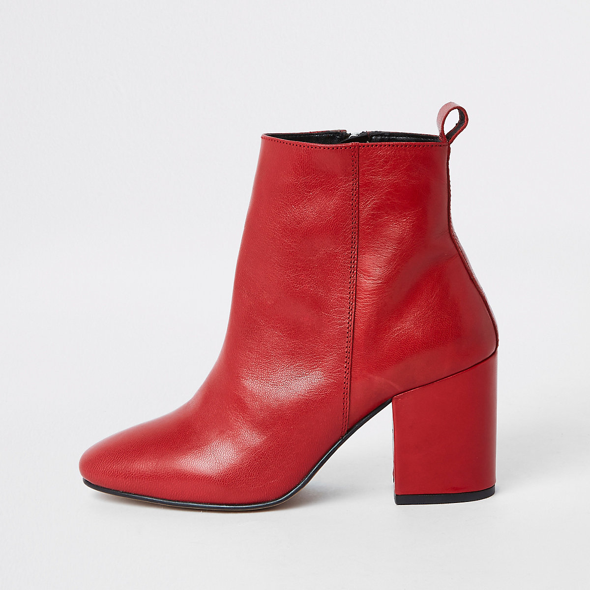 Red leather block heel ankle boots