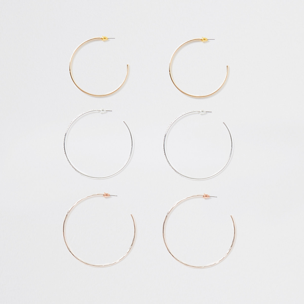 Gold colour diamante hoop earring multipack