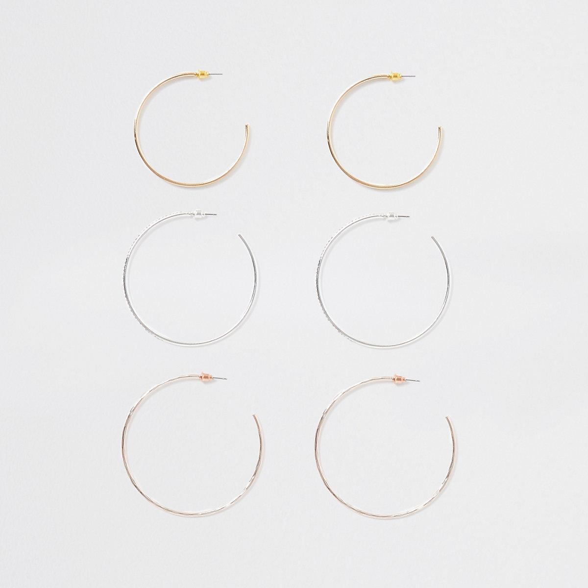 Gold tone diamante hoop earring multipack
