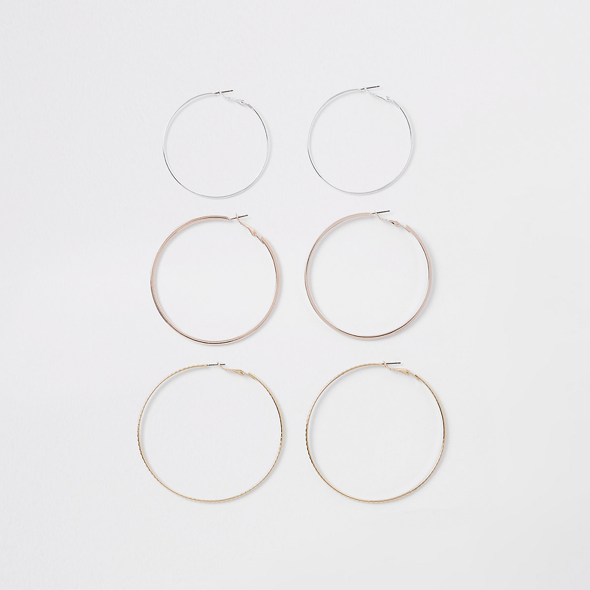 Gold tone mixed hoop earring multipack