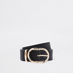 Zwarte jeansriem met ovalen ring