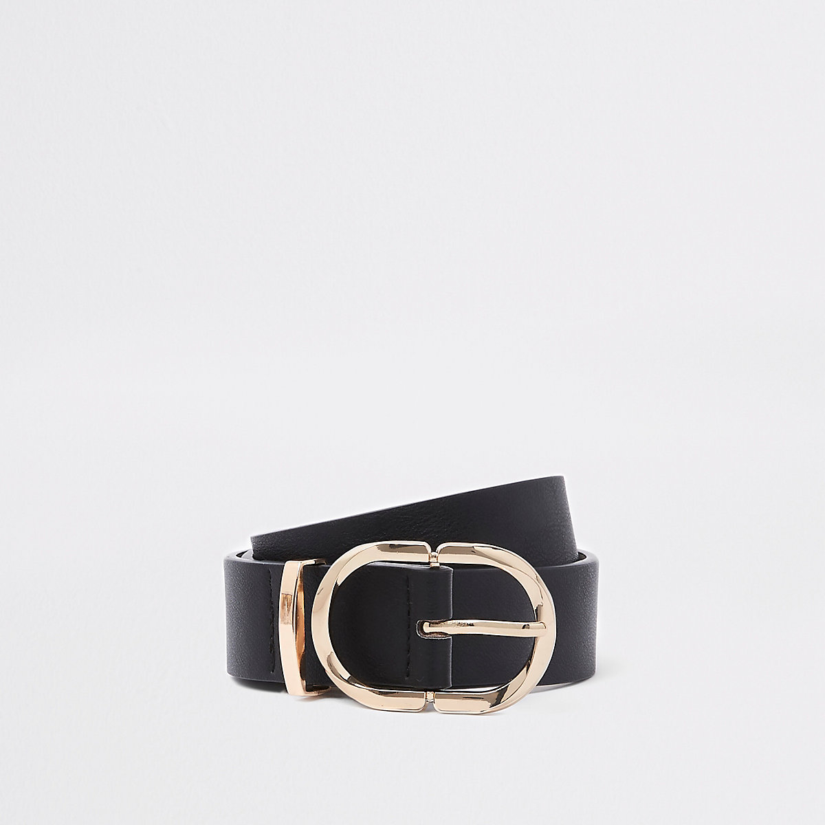 Black oval ring jeans belt
