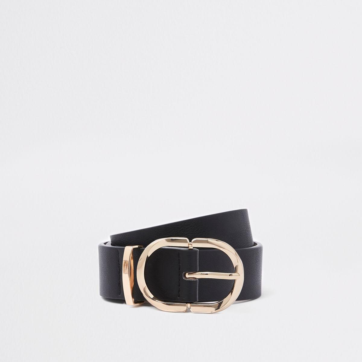Black oval ring jeans belt