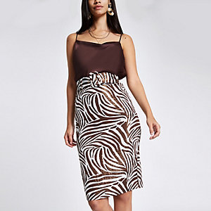 Gold zebra print pencil skirt