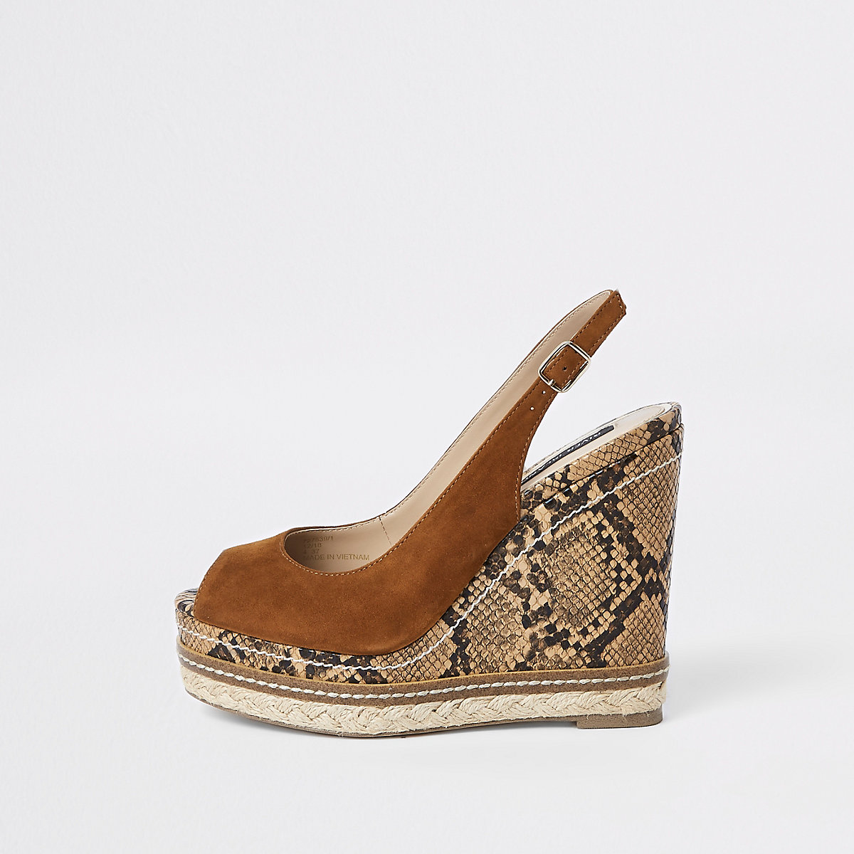 Brown leather snake espadrille trim wedges