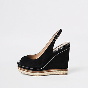 Black espadrille trim sling back wedges