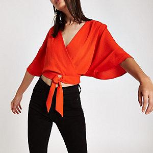Red wrap tie front kimono sleeve top