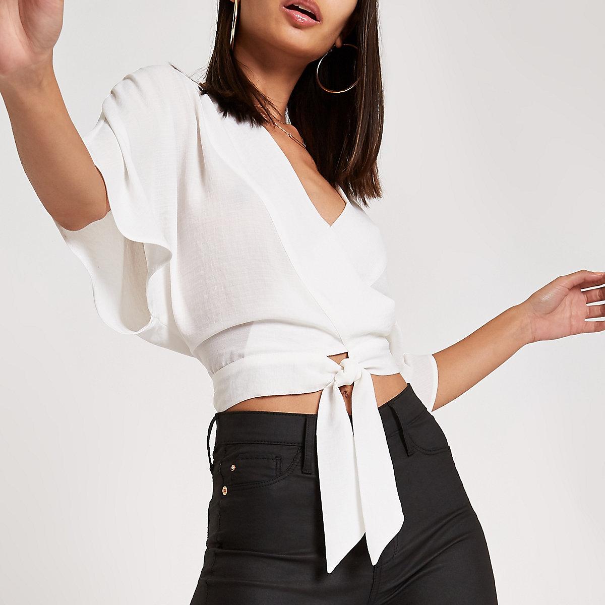 White wrap tie front kimono sleeve top