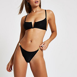 Black strappy high leg bikini bottom