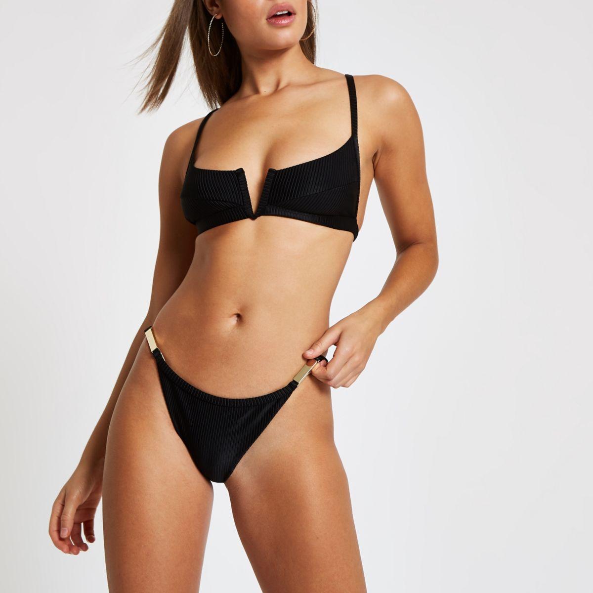 Black strappy high leg bikini bottom