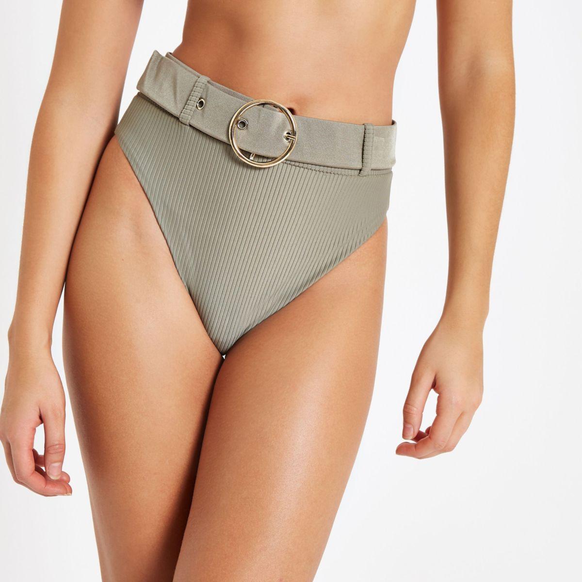 Khaki belted high waist bikini bottoms