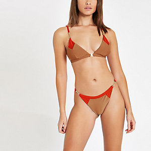Light brown blocked triangle bikini top