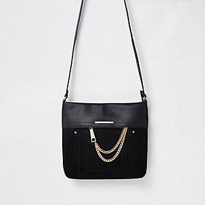 Black chain front cross body bag