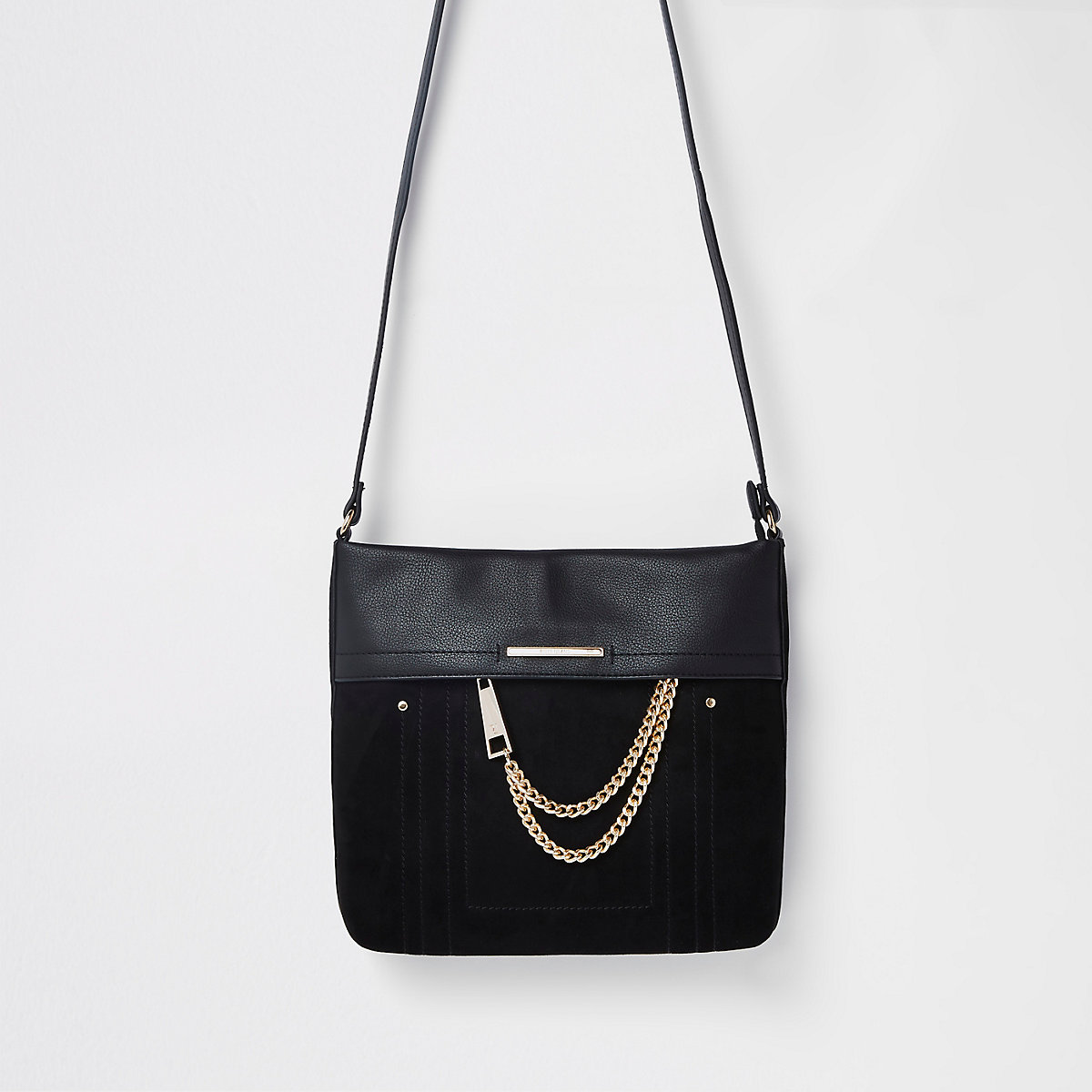 Black chain front cross body bag