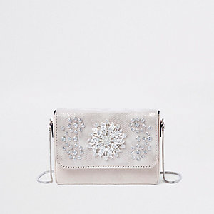 Cream embellished velvet boxy cross body bag