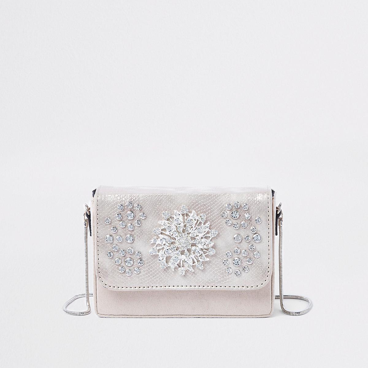 Cream embellished velvet boxy cross body bag