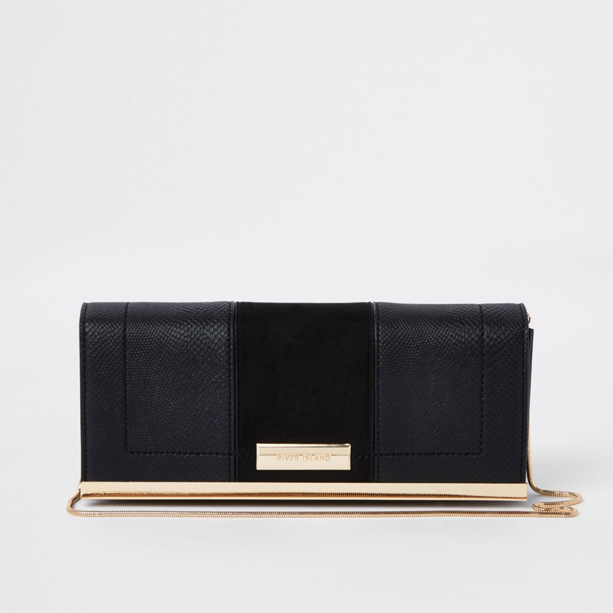 Black panel chain clutch bag