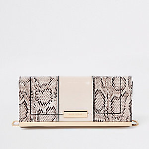 Beige snake print panel chain clutch bag