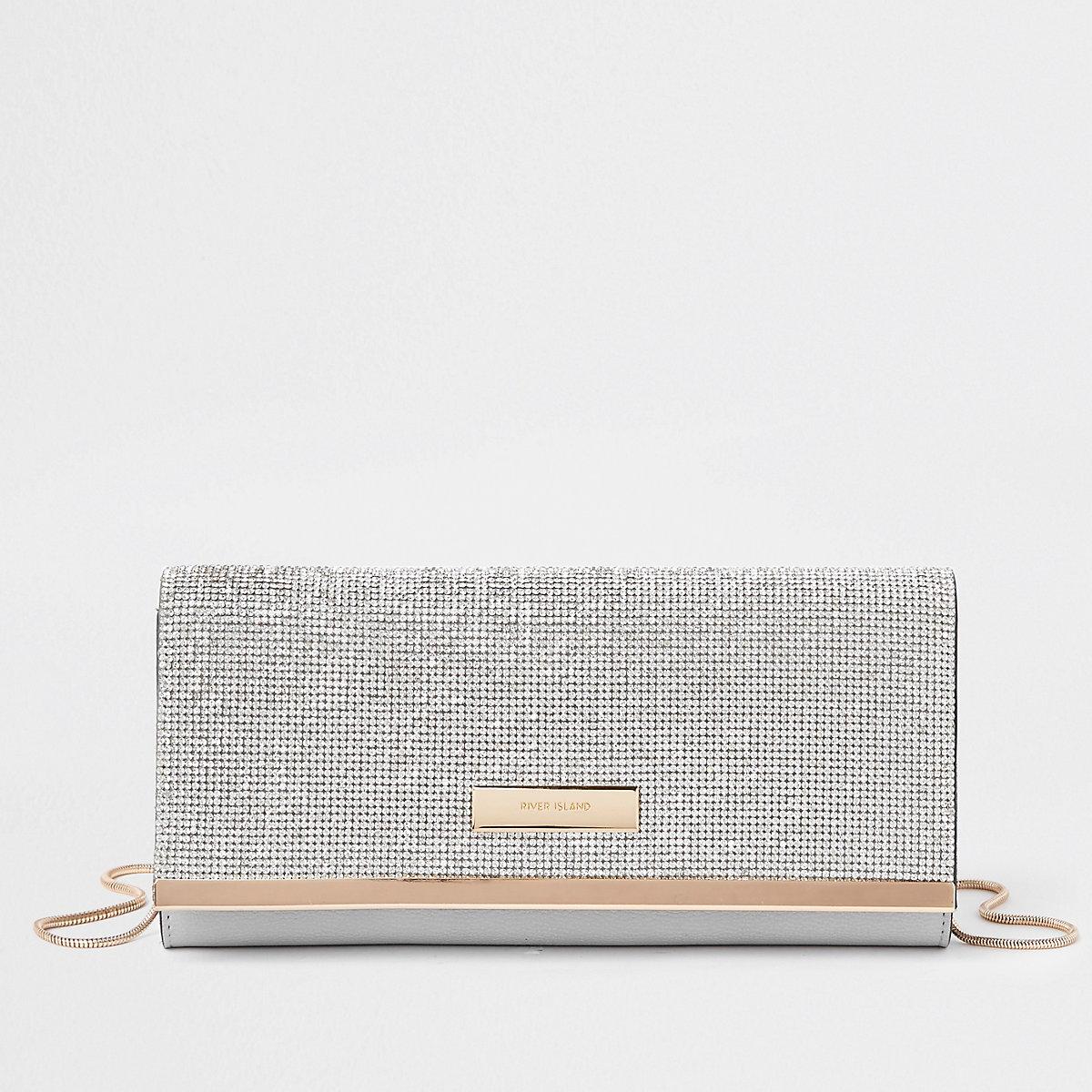 Silver rhinestone RI clutch bag
