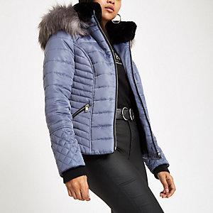 Petite blue faux fur hood puffer jacket