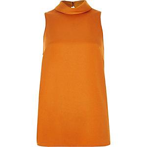 Orange satin high neck top