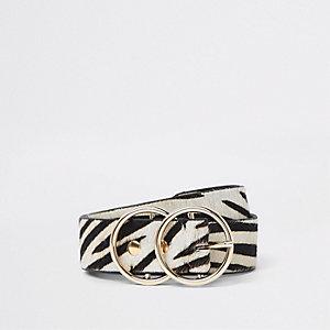 White leather pony zebra print ring belt