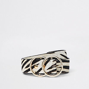 White leather pony zebra print ring belt