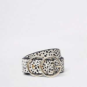 White leather pony dalmatian print ring belt