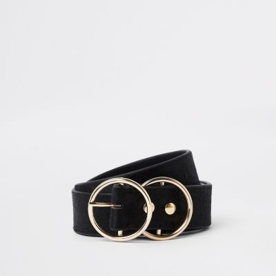 Black Leather Double Ring Jeans Belt by River Island